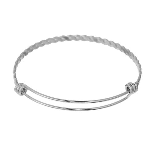Stainless Steel Rope Style Adjustable Bangle