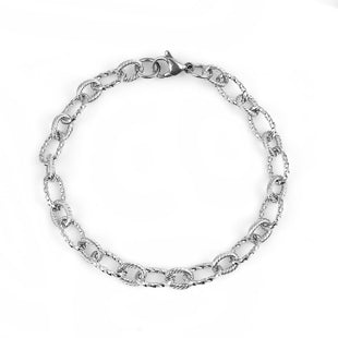 Stainless Steel Textured Cable 8 Inch Bracelet
