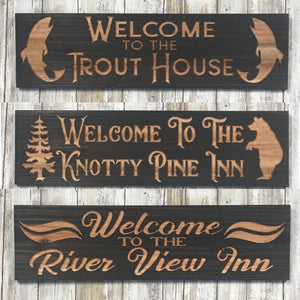 Vacation Home Name Sign Airbnb - Carved Cedar Wood