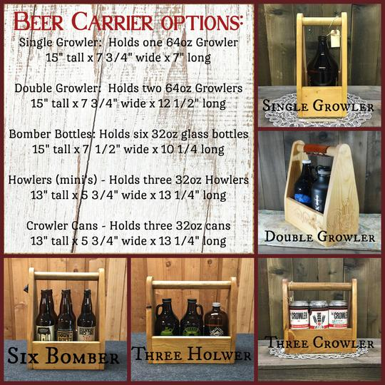 Simple Double Growler Carrier Holder - As Shown Holds Two 64oz Growler Bottles - Other Sizes Available