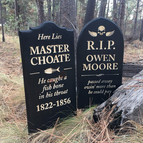 Master Choate OR Owen Moore Yard Ornament Grave Head Stone Tomb Halloween Decoration