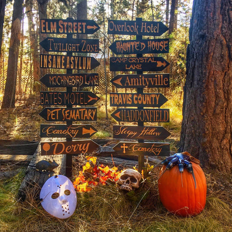 Choose Your Own Halloween Lawn Ornament Directional Signs - Carved Cedar Wood