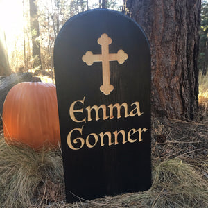 Emma Gonner Yard Ornament Grave Head Stone Tomb Halloween Decoration