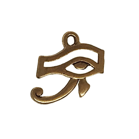 Eye of Horus Ra Charms - Qty of 5 Charms - 22kt Gold Plated Lead Free Pewter - American Made