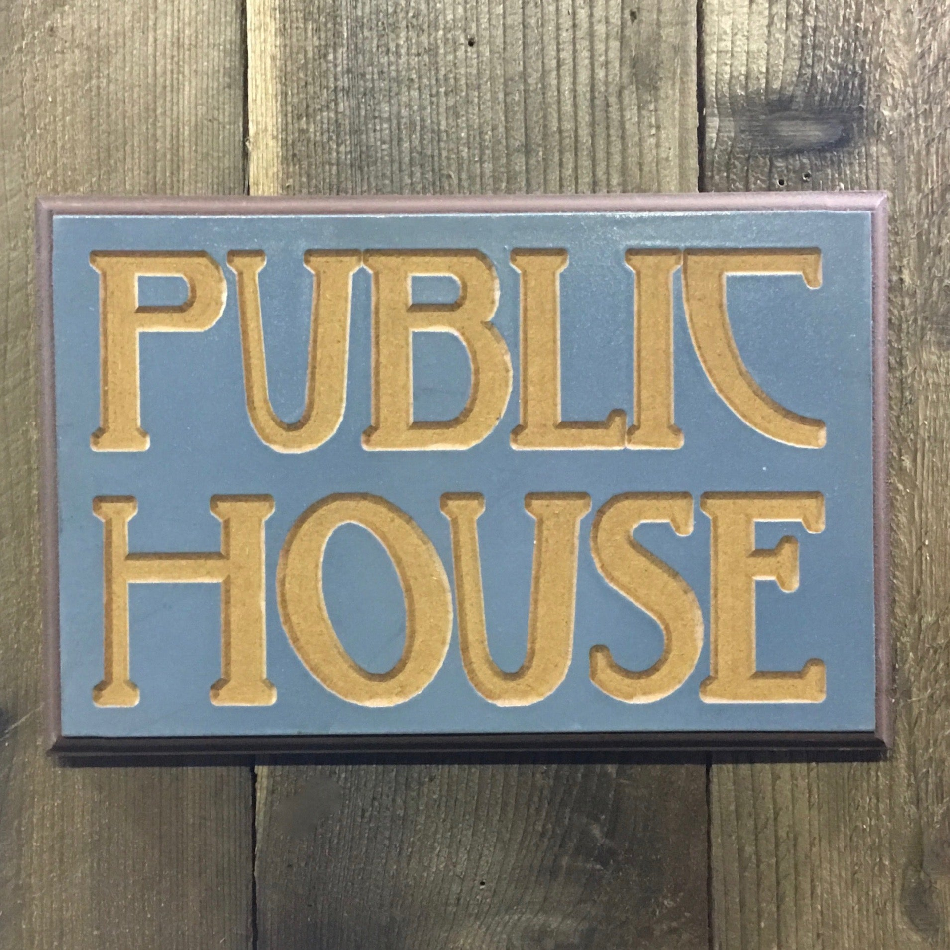 Public House Sign Plaque - Engraved Wood Sign