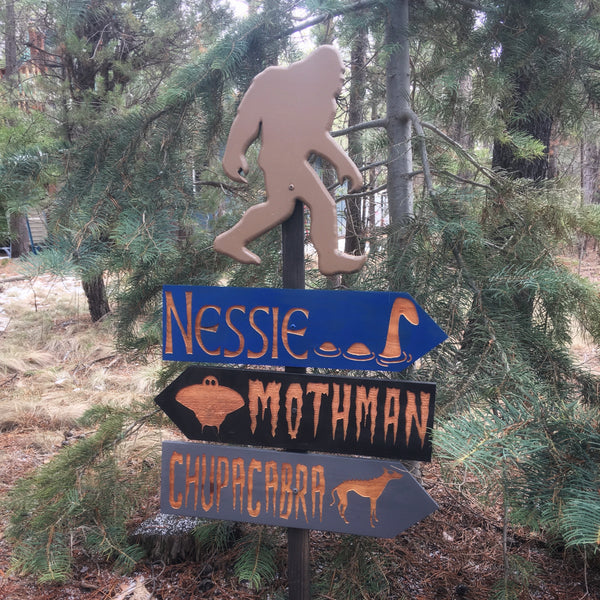 Cryptozoology Directional Signs - Carved Cedar Wood Signs