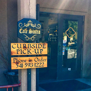 Custom Restaurant Curbside Pick Up Signs - Carved & Painted Pine & Cedar Wood