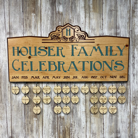 Family Celebrations Calendar Sign - Pine and Birch Wood