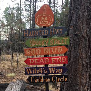 Creepy Halloween Streets Lawn Ornament Directional Signs - Carved Cedar Wood Holiday Decor