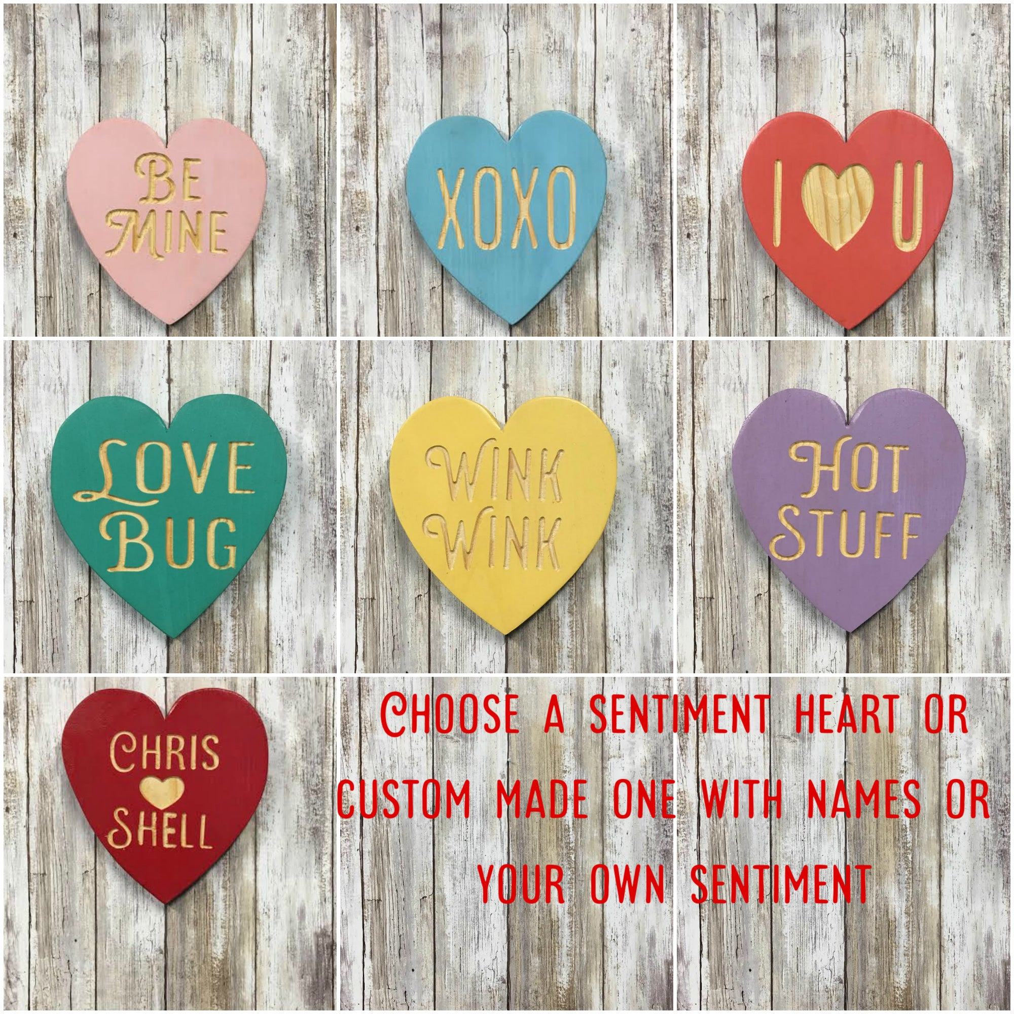 Valentines Day Conversation Heart Signs - Home Decor - Engraved Pine Wood
