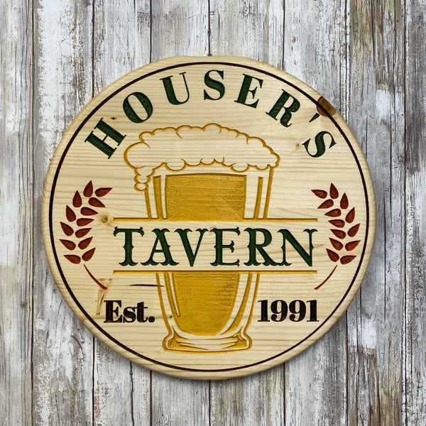 Customized Beer Tavern Sign with Your Name & Date - Carved Pine Wood