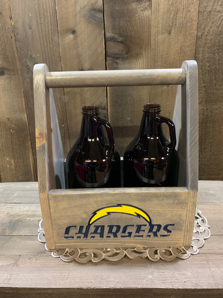 Football Team Beer Carrier - As Shown Holds Two 64oz Growler Bottles - Other Sizes Available