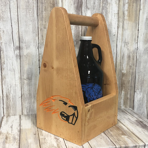 College Football Team Beer Carrier - As Shown Holds One 64oz Growler Bottles - Other Sizes Available