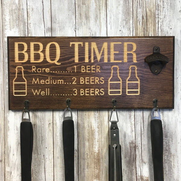 Beer BBQ Timer Barbecue Tool Holder with Beer Opener - Engraved Pine Wood