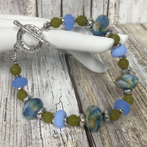 Sea Grass Blue & Green Lampwork Glass & Olivine Stone Bracelet