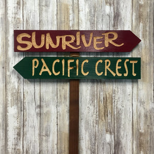 Sunriver & Pacific Crest Directional Sign Set - Carved Cedar Wood