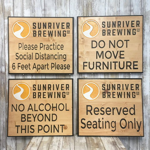 Restaurant Bar Covid Compliance Signs - Carved Pine Wood