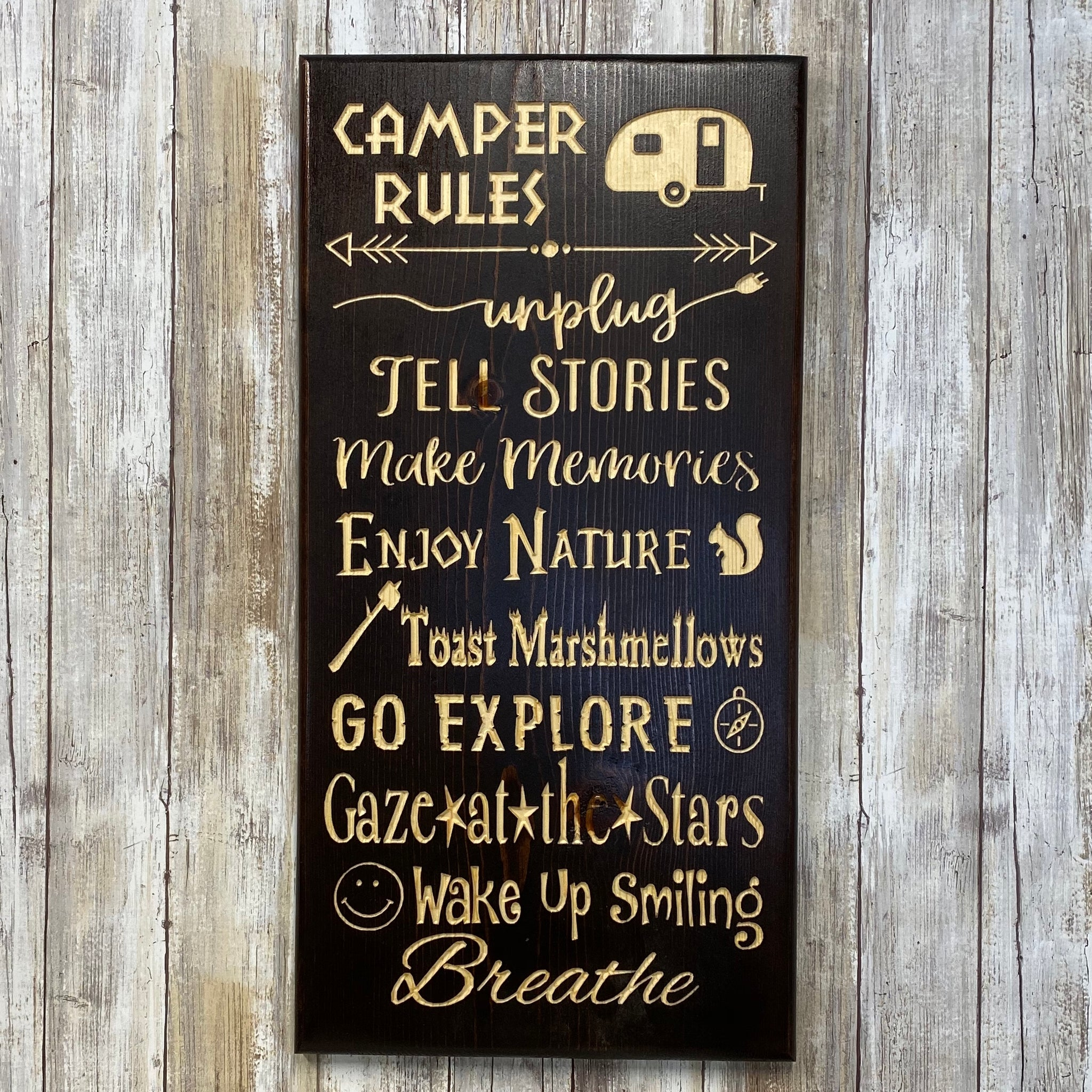Camper Rules - Wall Hanging Sign - Carved Pine Wood