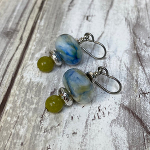 Sea Grass Lampwork Glass Earrings