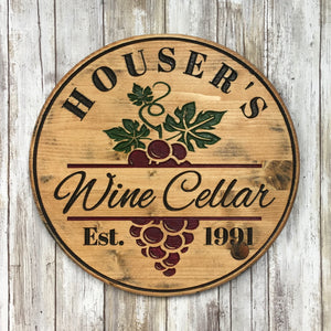 Customized Wine Cellar Sign with Your Name & Date - Carved Pine Wood