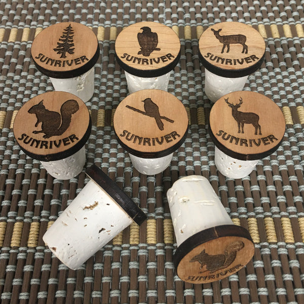Sunriver Logo Wine Cork Stopper - Laser Engraved Wood & Natural Cork