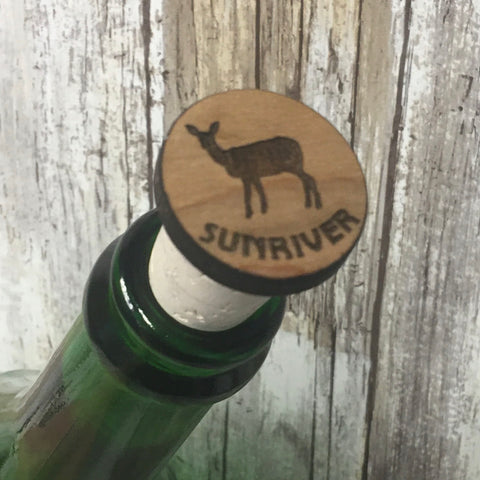 Sunriver Doe Deer Wine Cork Stopper - Laser Engraved Wood & Natural Cork