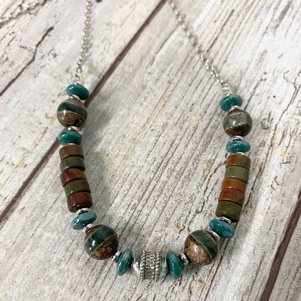 Canyon River Necklace - Pewter Jasper DZI & Czech Glass