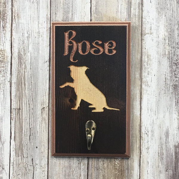 Personalized Dog Name and Breed Leash Holder Rack - Carved Pine Wood