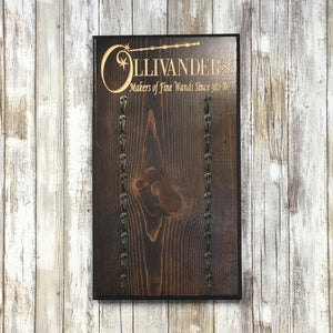 Wand Shop Multiple Wand Holder - Carved Pine Wood Display
