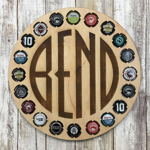 Bend Oregon Logo Craft Brew Bottle Cap Display