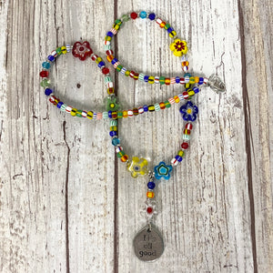 It's All Good Beaded Necklace - Happy Colorful Flowers