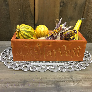Rustic Style Harvest Centerpiece Box - Carved Cedar Wood