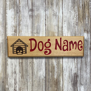 Custom Dog House Name Sign - Carved Pine Wood