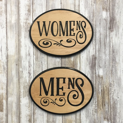 Women's Men's Restroom Bathroom Plaque Signs - Carved Pine Wood