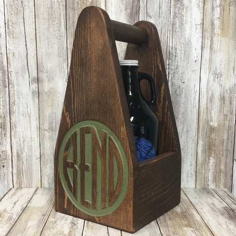 Bend Oregon Beer Carrier - As Shown Holds One 64oz Growler Bottle - Other Sizes Available