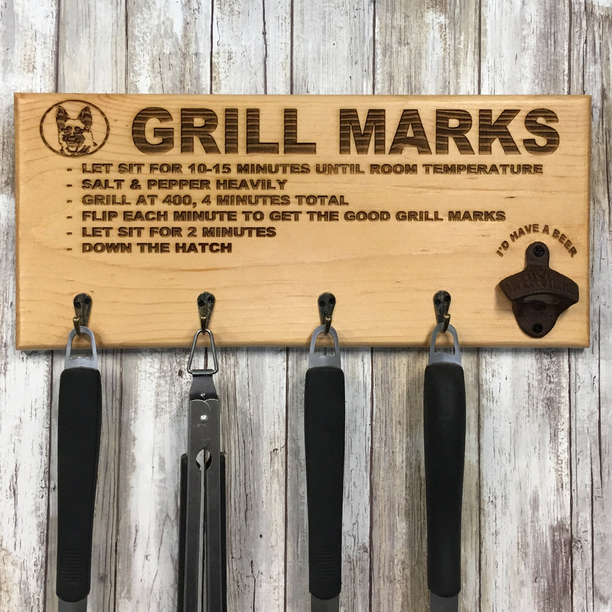 Letterkenny Grill Marks Barbecue Tool Holder with Beer Opener - Laser Engraved Pine Wood