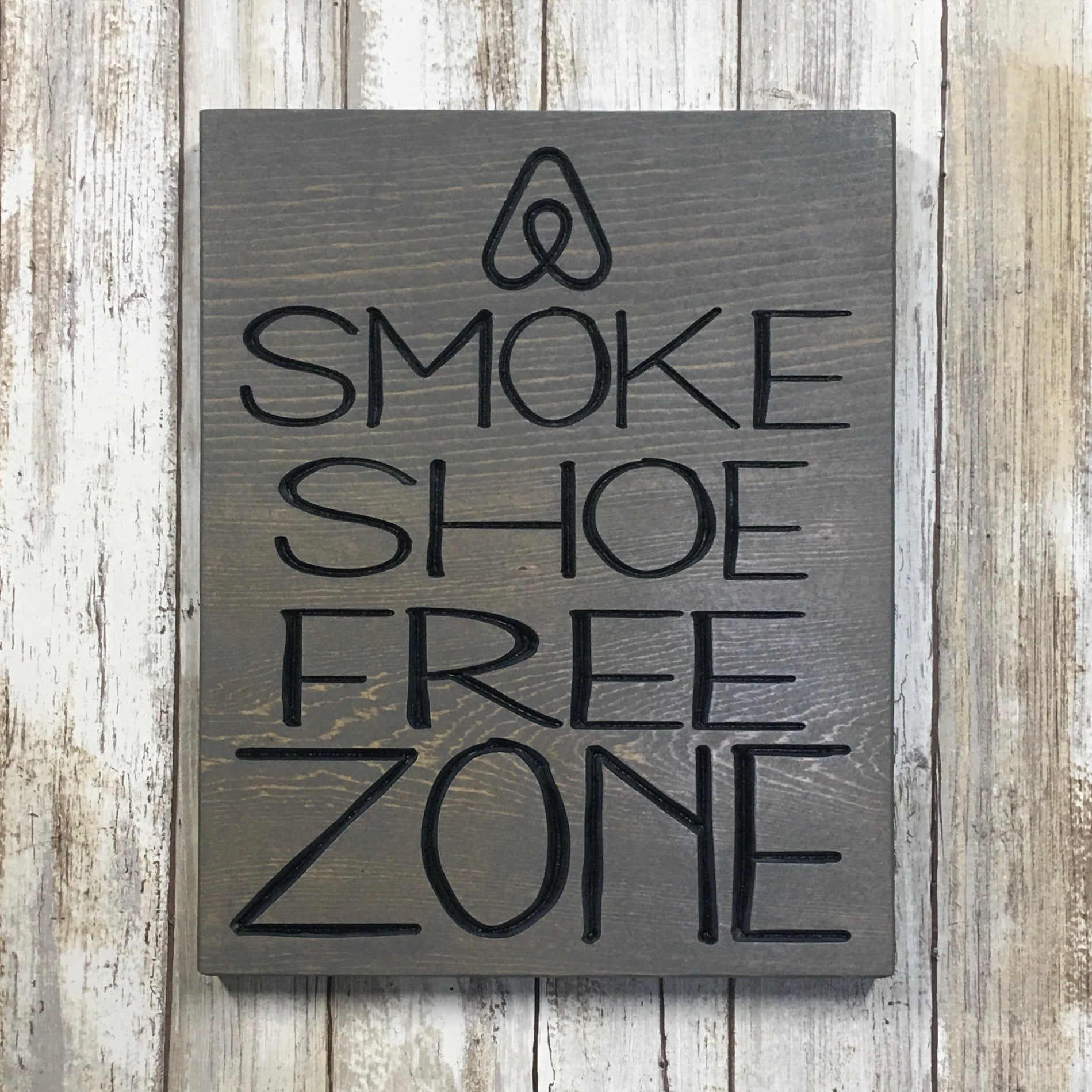 Custom Airbnb No Smoking or Shoe Zone Plaque Signs - Carved Pine Wood