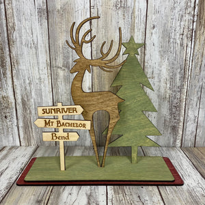 Central Oregon Deer & Tree 3-D Wood Decoration - Cabin Decor - Laser Cut Wood