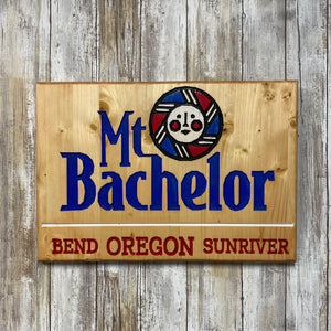 Mt Bachelor Bend Sunriver Oregon - Carved Cedar Wall Hanging Sign