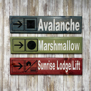 Mt Bachelor Ski Lift Replica Sign - Carved Pine Wall Hanging Sign