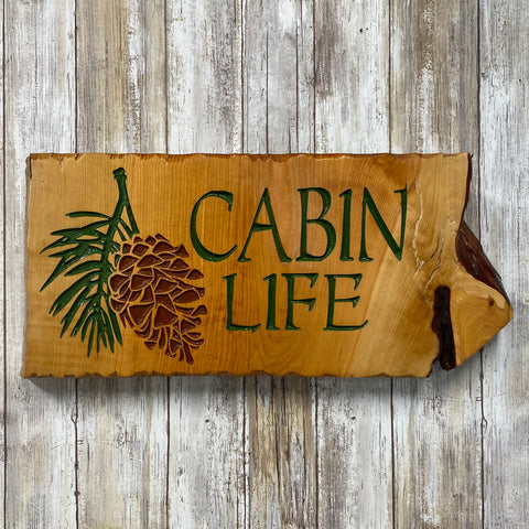 Cabin Life Pine Cone Branch - Live Edge Juniper Pine Wood Sign Wall Hanging