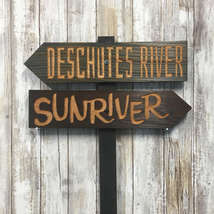 Sunriver & Deschutes River Directional Sign Set - Carved Cedar Wood