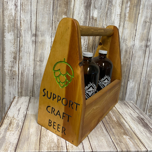 Support Craft Beer Bottle Carrier - As Shown Holds Three 32oz Howler Bottle - Other Sizes Available