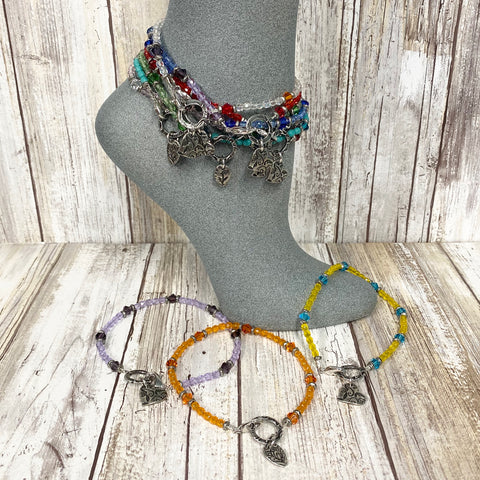 Crystal Charm Anklets - Your choice of color and charm