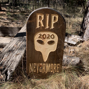 RIP 2020 Nevermore! Yard Ornament Grave Head Stone Tomb Halloween Decoration