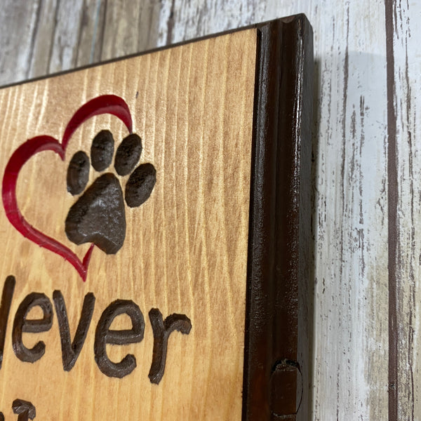 Never Walk Alone Dog Leash Holder Rack - Carved Pine Wood