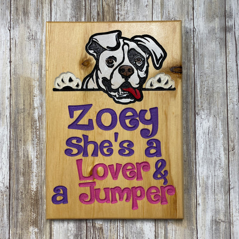 Custom Beware of Dog Name Sign - Carved Pine Wood