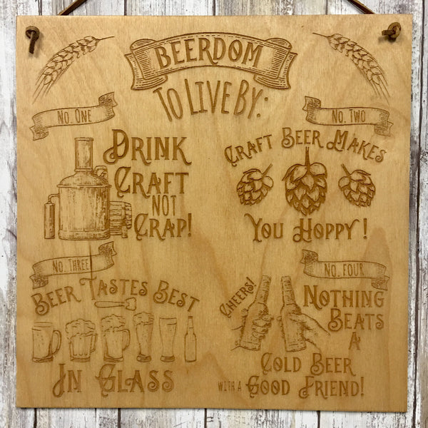 Beerdom to Live By - Beer Lover's Guide to Life - Wall Hanging