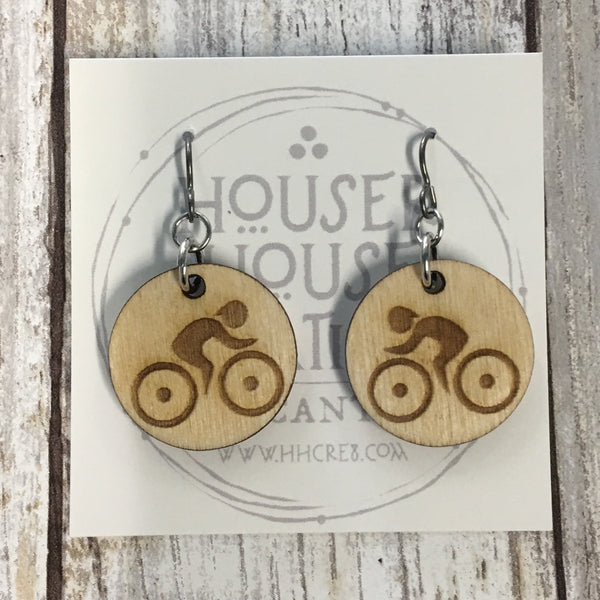 Cyclist Bicycle Earrings - Baltic Birch Wood
