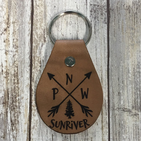 Sunriver Crossed Arrows PNW Leather Key Chain Fob - Or customized with your Location